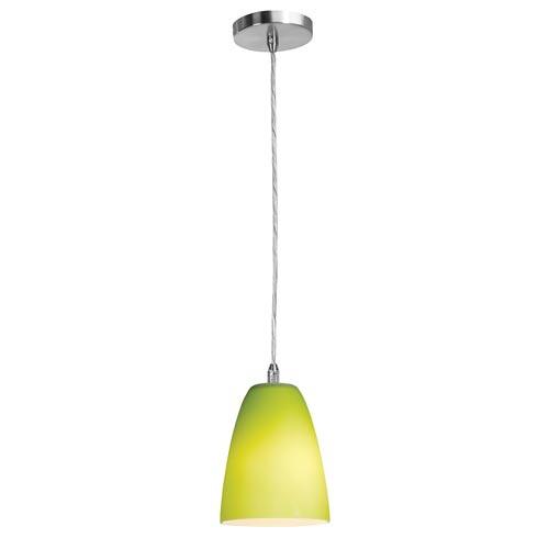 Shava Brushed Steel One-Light Mini Pendant with Light Green Glass