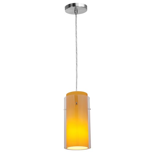 Shava Brushed Steel One-Light Mini Pendant with Clear Outer/Amber Inner Glass