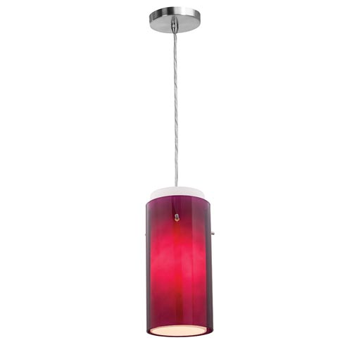 Shava Brushed Steel One-Light Mini Pendant with Purple Outer/Opal Inner Glass