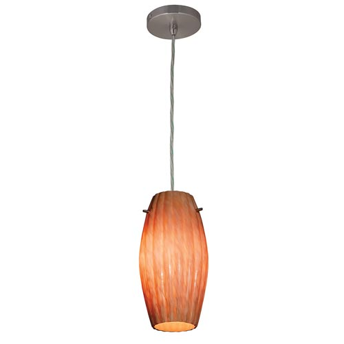 Shava Brushed Steel One-Light Mini Pendant with Amber Marble Glass