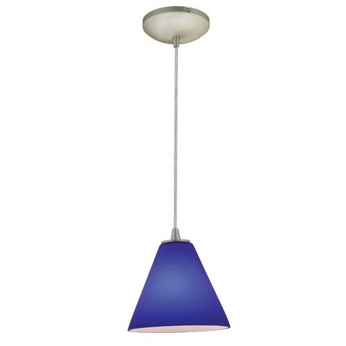 Tali Brushed Steel One-Light Mini Pendant with Cobalt Blue Glass