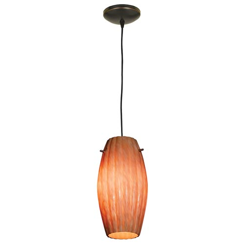 Tali Oil Rubbed Bronze One-Light Mini Pendant with Amber Marble Glass