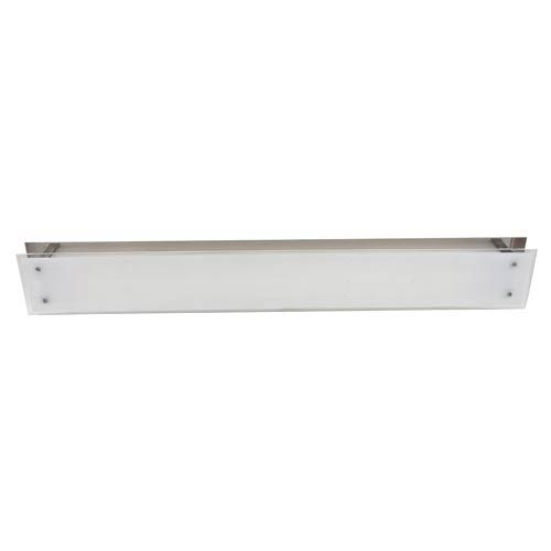 Vision Brushed Steel Two-Light Flush Mount with Frosted Glass