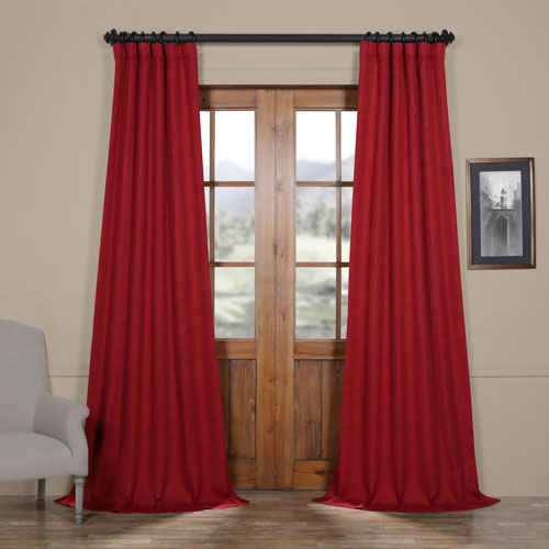 Red Cardinal 108 x 50 In. Faux Linen Blackout Curtain Single Panel