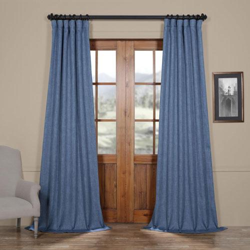 Blue Denim 96 x 50 In. Faux Linen Blackout Curtain Single Panel