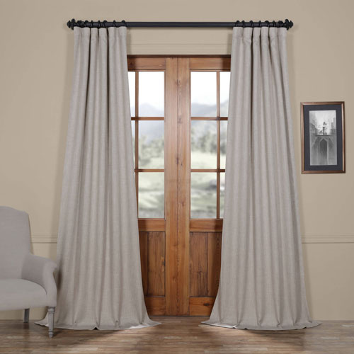 Beige Clay 108 x 50 In. Faux Linen Blackout Curtain Single Panel