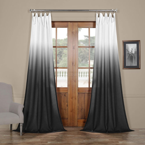 Ombre Black 84 x 50 In. Faux Linen Semi Sheer Curtain Single Panel