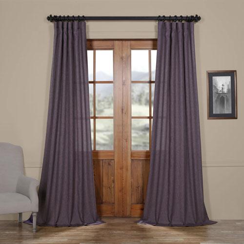 Stormy Purple 108 x 50 In. Faux Linen Semi Sheer Curtain Single Panel