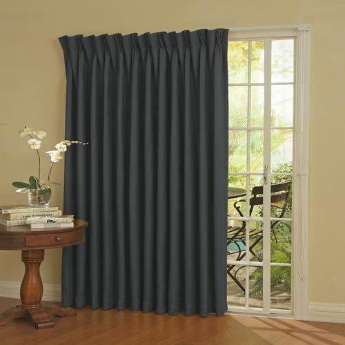 Storm Blue Thermal Blackout Patio Door Curtain Panel