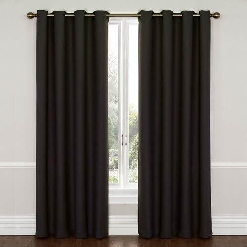 Eclipse Wyndam Jet Black 52-Inch x 95-Inch Blackout Window Curtain Panel
