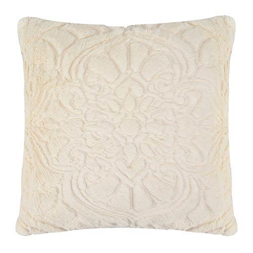 Signature Plush Ivory 18 x 18 Charlotte Faux Fur Decorative Pillow