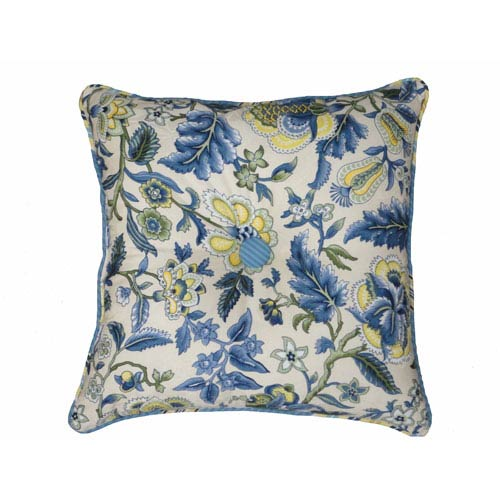 Waverly Imperial Dress Porcelain Garden Path 18-Inch Square Button Tufted Pillow