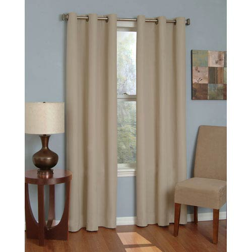 Eclipse Microfiber Beige 42-Inch x 84-Inch Grommet Blackout Window Curtain Panel