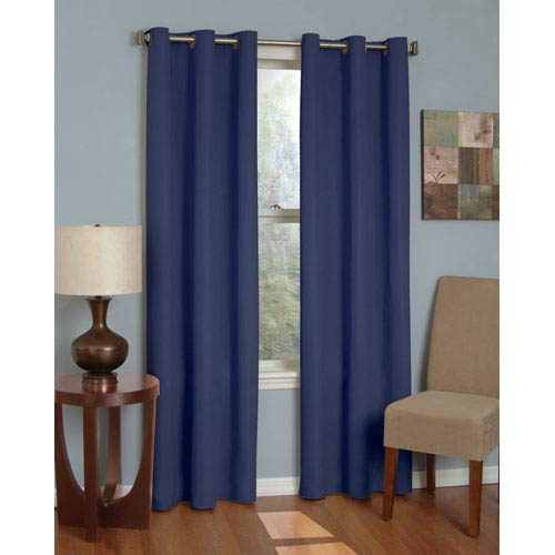 Eclipse Microfiber Navy 42-Inch x 84-Inch Grommet Blackout Window Curtain Panel