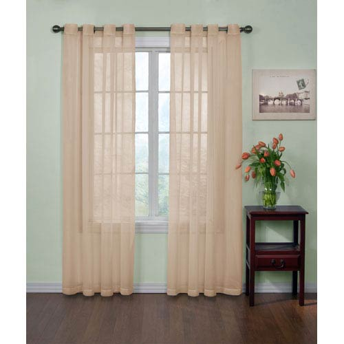 Latte 84 x 59 In. Odor-Neutralizing Sheer Voile Grommet Curtain Panel