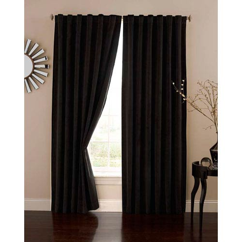 Black 50-Inch x 84-Inch Velvet Blackout Home Theater Curtain Panel
