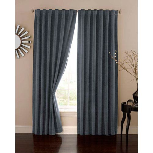 Stone Blue 50-Inch x 84-Inch Velvet Blackout Home Theater Curtain Panel