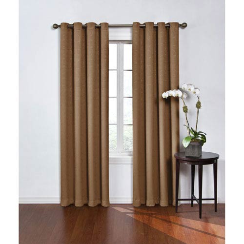 Round and Round 108 x 52-Inch Latte Blackout Window Curtain Panel