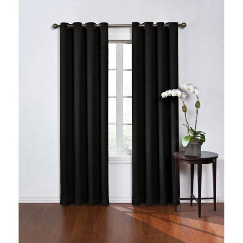 Round and Round 95 x 52-Inch Black Blackout Window Curtain Panel