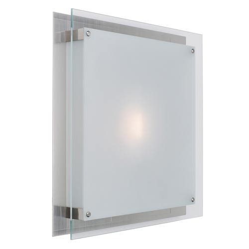Vision Brushed Steel Two-Light Sconce with Frosted Glass