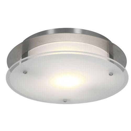 Access Lighting VisionRound Brushed Steel One-Light Medium Flush or Wall Mount
