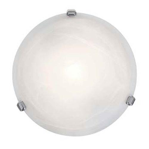 Nimbus Chrome One-Light 13-Inch Flush Mount with Alabaster Glass