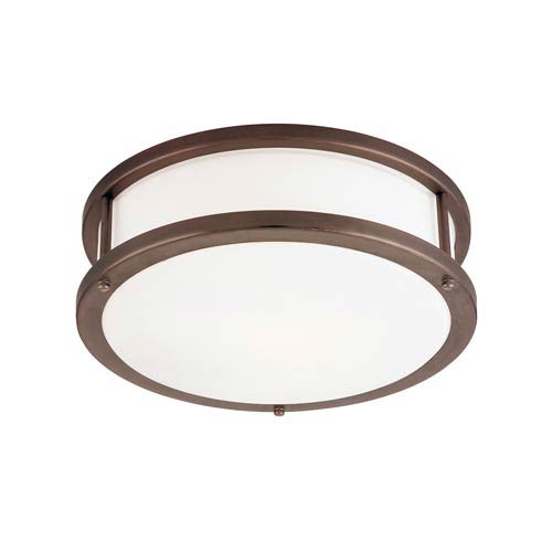 Access Lighting Conga Bronze Two-Light Flush Mount with Opal Glass