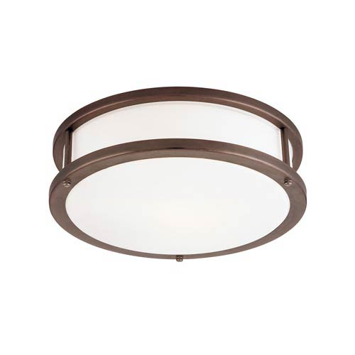 Access Lighting Conga Bronze Three-Light Flush Mount with Opal Glass