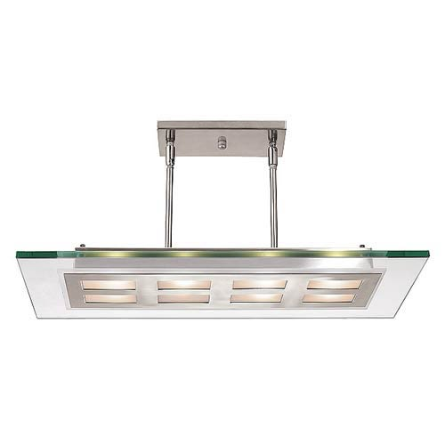 Brushed Steel Eight-Light Semi-Flush
