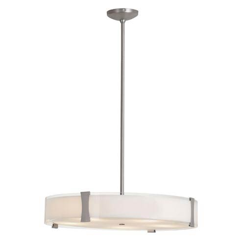 Tara Brushed Steel Five-Light Pendant with Opal Glass
