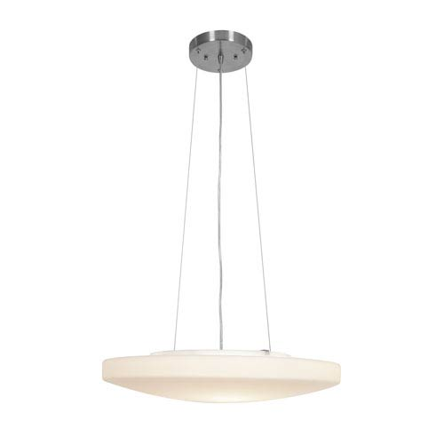 Orion Brushed Steel Three-Light Pendant with Opal Glass