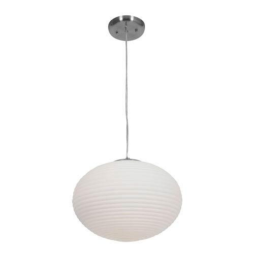 Callisto Brushed Steel Two-Light Pendant with Opal Glass