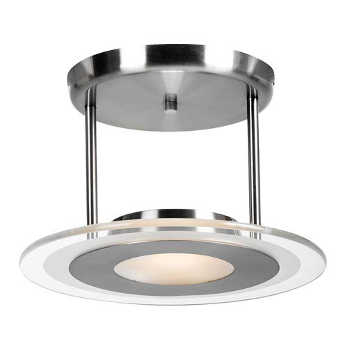 Helius Brushed Steel One-Light Semi-Flush with Clear Glass with Center Frosted Ring