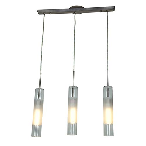 Access Lighting Dezi Brushed Steel Three-Light 23-Inch Wide Fluorescent Island Pendant