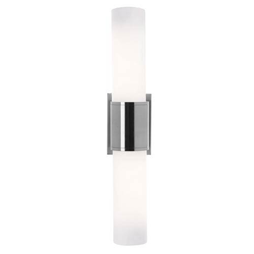 Brushed Steel Fluorescent Two-Light Sconce with Opal Glass