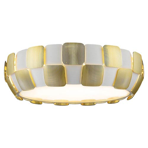 Layers Gold Six-Light 22-Inch Flush Mount with White Shade