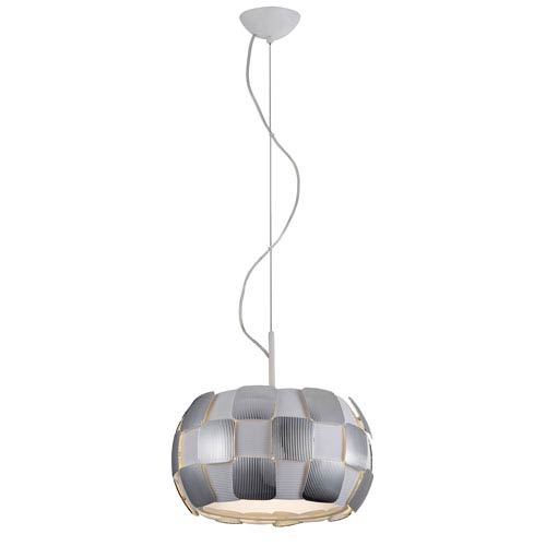 Layers Chrome Three-Light 14-Inch Pendant with White Shade