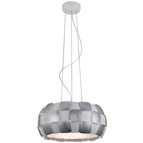 Layers Chrome Five-Light 18-Inch Pendant with White Shade