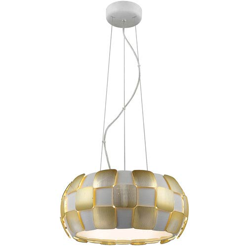 Layers Gold Five-Light 18-Inch Pendant with White Shade