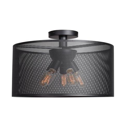 Epic Black 20-Inch Five-Light Round Semi-Flush Mount