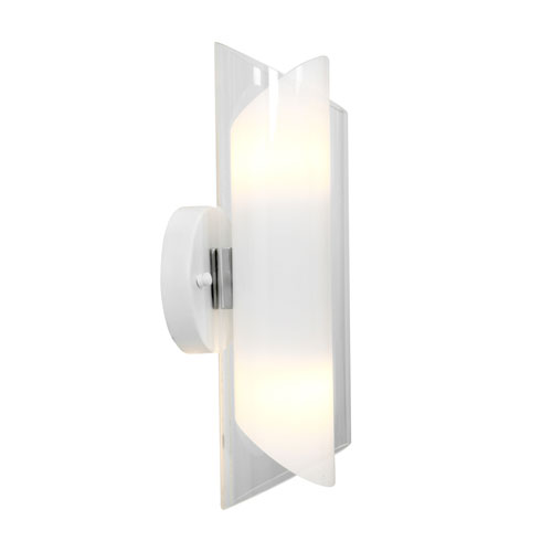 Gyro Brushed Steel Two-Light Glass Wall Sconce