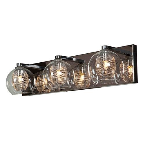 Access Lighting Aeria Chrome Three-Light 20.5-Inch Wide Bath Vanity Fixture