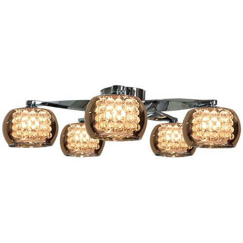 Glam Chrome Five-Light 23-Inch Flush Mount with Mirror Glass and Crystal Shade
