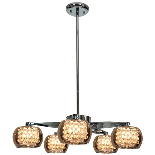 Glam Chrome Five-Light 23-Inch Chandelier with Mirror Glass and Crystal Shade