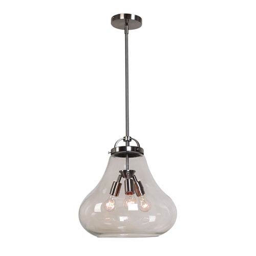 Access Lighting Flux Antique Nickel and Clear Glass Three-Light Vintage Pendant