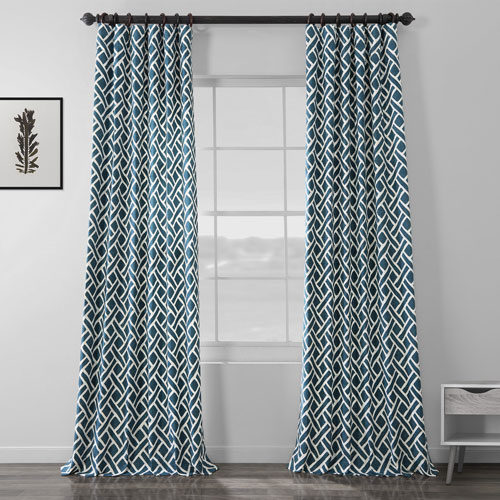 Navy Blue 84 x 50 In. Printed Cotton Twill Curtain Single Panel