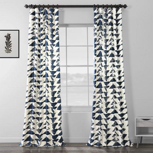 Triad Indigo 96 x 50 In. Printed Cotton Twill Curtain Single Panel