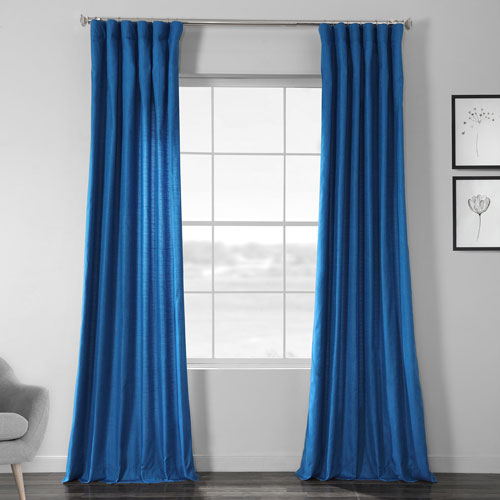 Faux Shantung Silk Holly Blue 84 x 50-Inch Curtain Single Panel