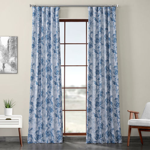 Blue Printed 96 x 50-Inch Polyester Blackout Curtain Single Panel