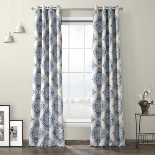Henna Blue Grommet Blackout Curtain Single Panel